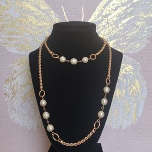 VTG Bronze JC Italy Honora Ming Pearl Necklace